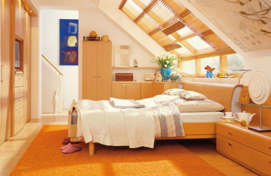 Inspiring Decor For Inspiring Orange Splendid Attic Bedroom...