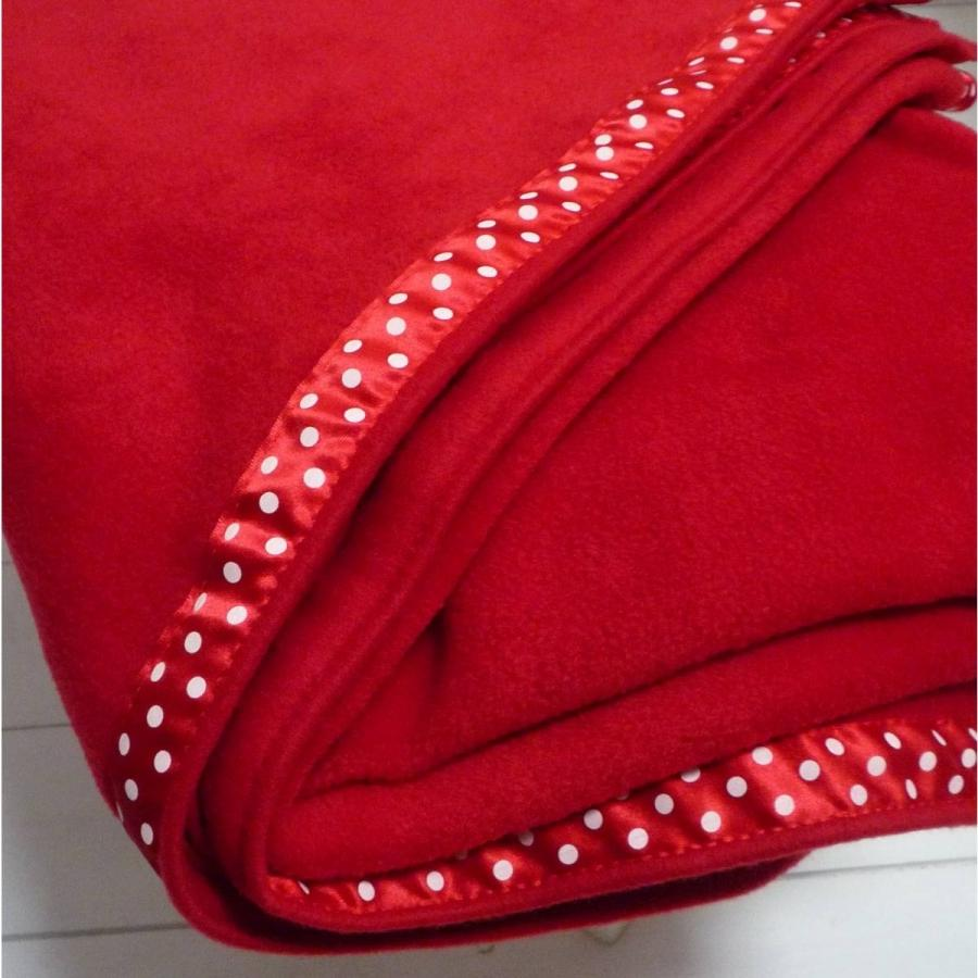 Soft Red Fleece Blanket with Ribbon Trim