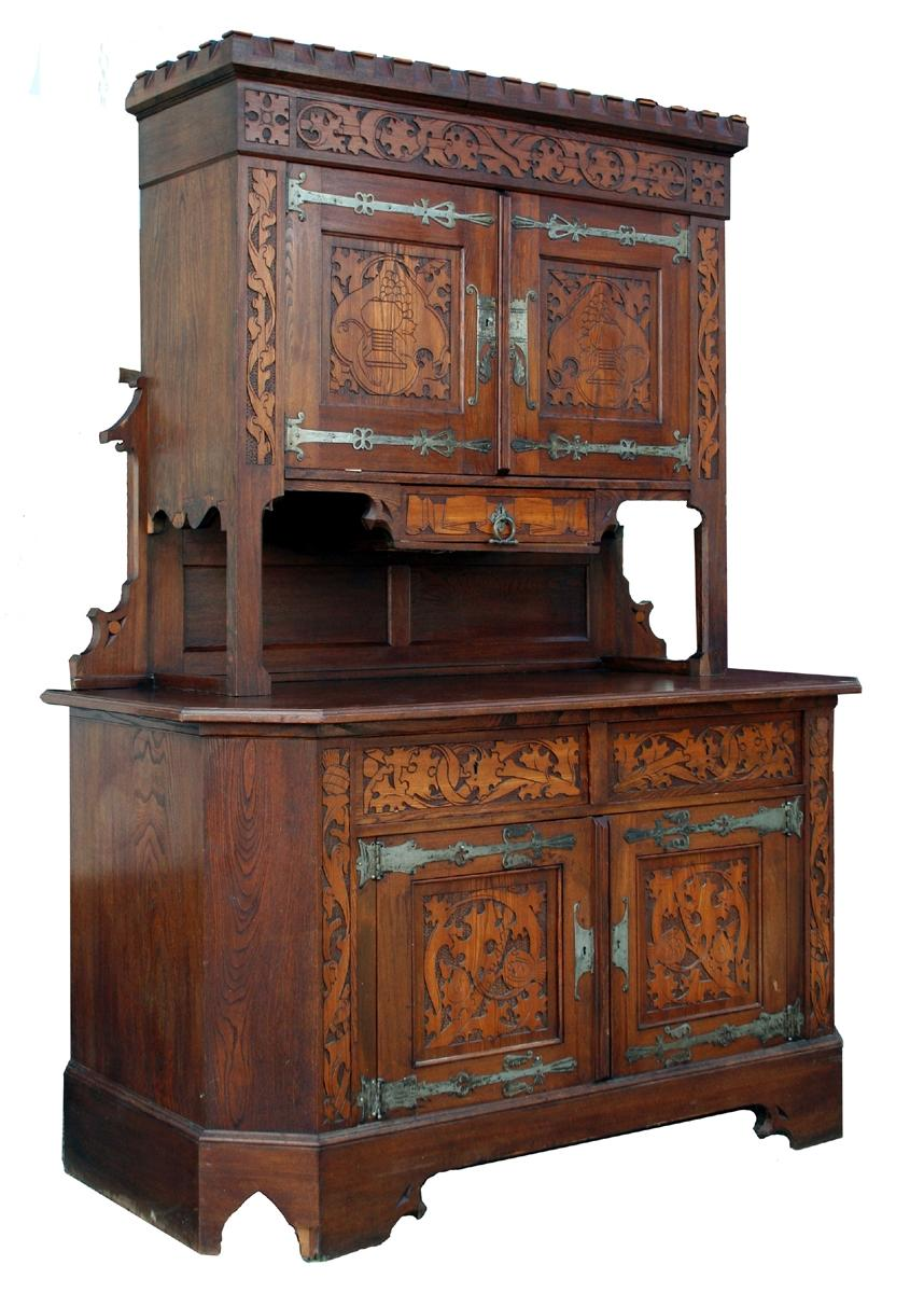 Antique Gothic Oak Cabinet - For Sale