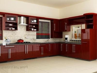 Kerala kitchen cabinets photo gallery - Red kitchen designs photo gallery ...