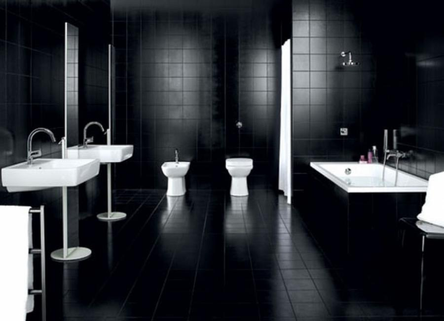 ... Black And White Bathroom Decorating Ideas With Black And...