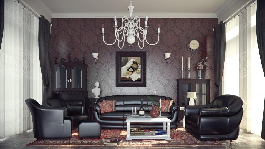 Classic style chandelier and wallpaper pattern are made...