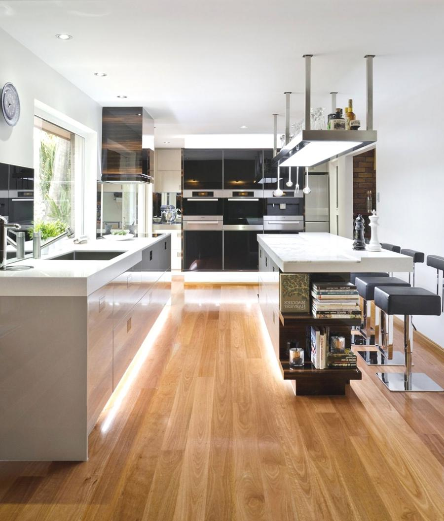 Hidden Light Laminate Flooring Spacious Kitchen Decoration listed...