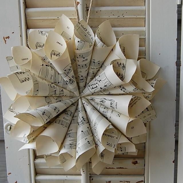 Vintage Sheet Music Cone Wreath by roseflower48...