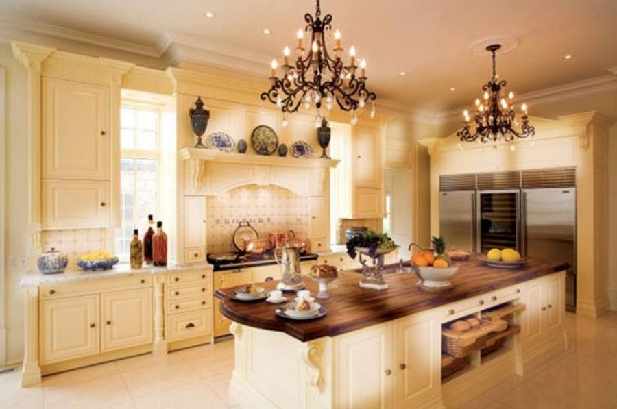 glamorous black chandeliers with white wooden luxury kitchen...
