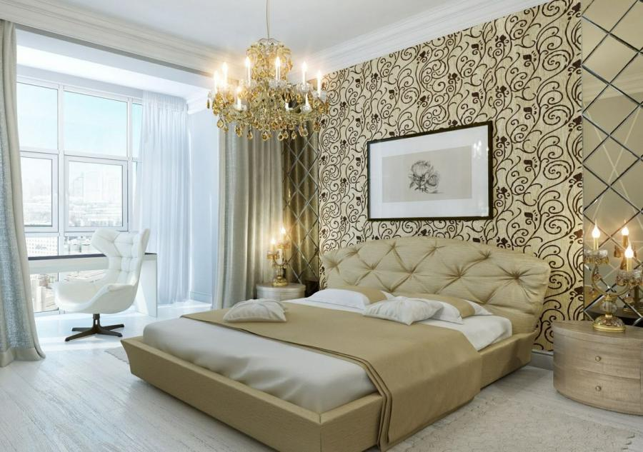 Down load Victorian Bedroom Idea with Floral Wallpaper and Lux...