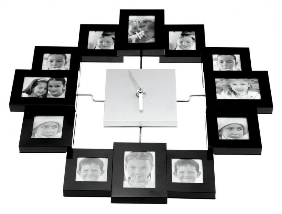 Silver multi collage photo frame clock