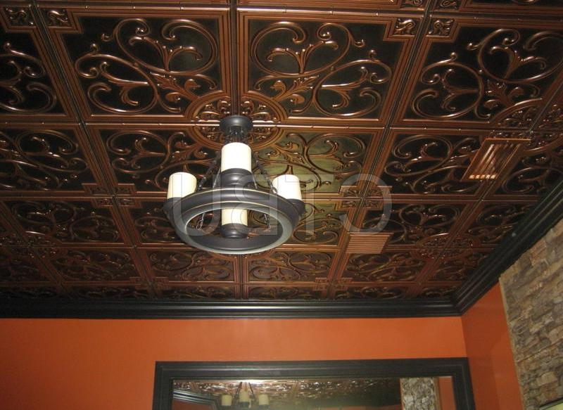 Glue Up PVC Antique Copper Ceiling Tiles with Overlapping Edges...