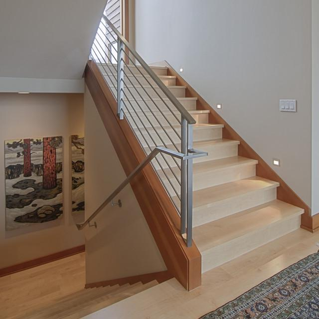 Warm Woods contemporary-staircase