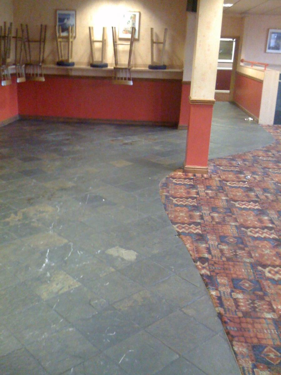 Slate Floor in a workings mens club in desperate need of a clean...