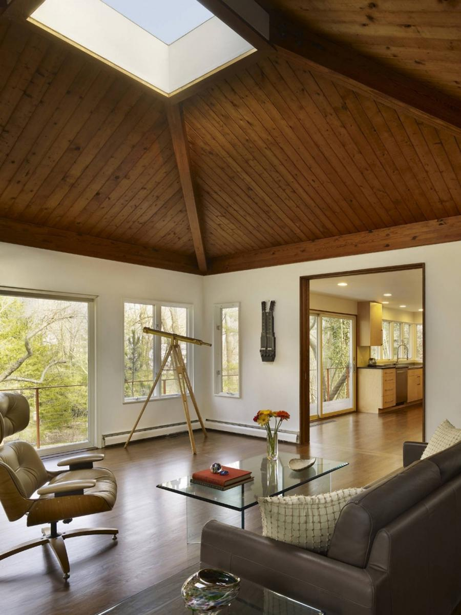 Home Design: Wooden Floor Wooden Ceiling Glass Wall Glass Window...