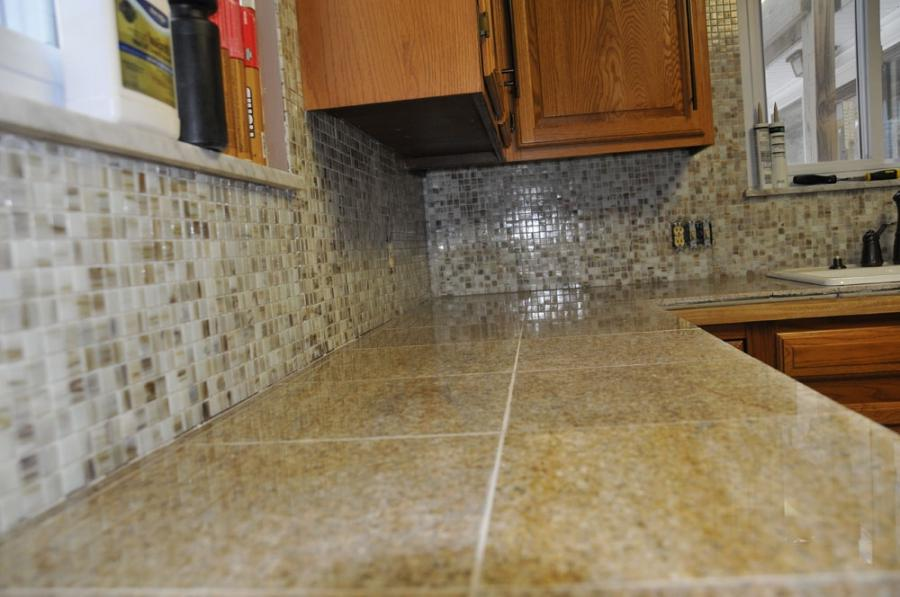 Granite with tile backsplash