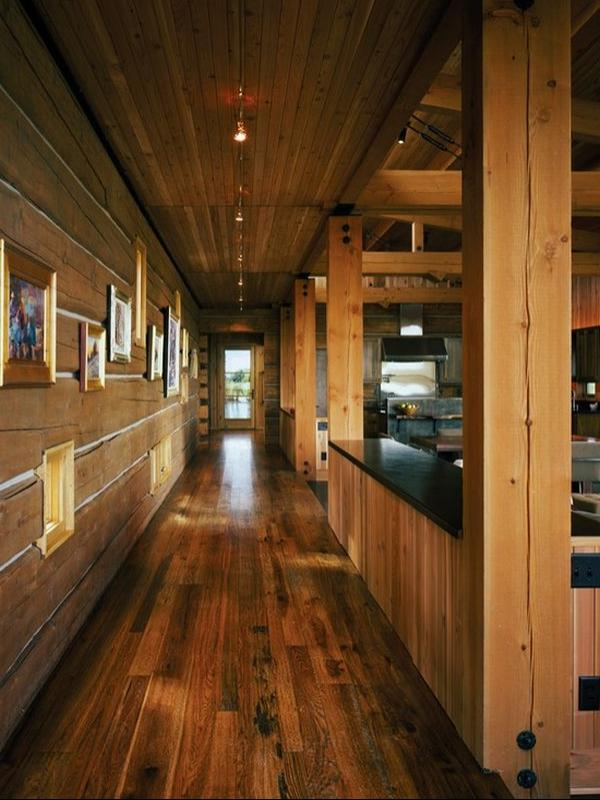 Continued wood-plank theme onto hallway walls. Rougher wood and...