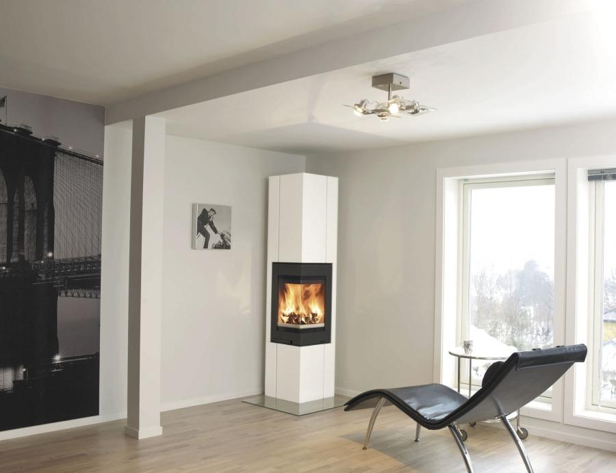... Interior,Fashionable Modern Electric Corner Fireplace With...