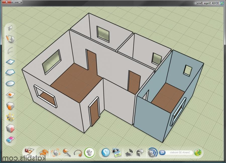 A simple apartment model in 3DVia Shape flat shaded with basic...