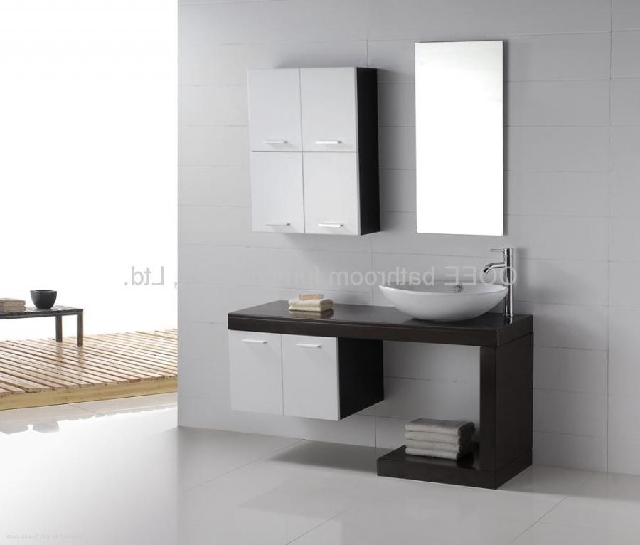 ... Contemporary Bathroom Cabinets With Floating Wooden Brown...