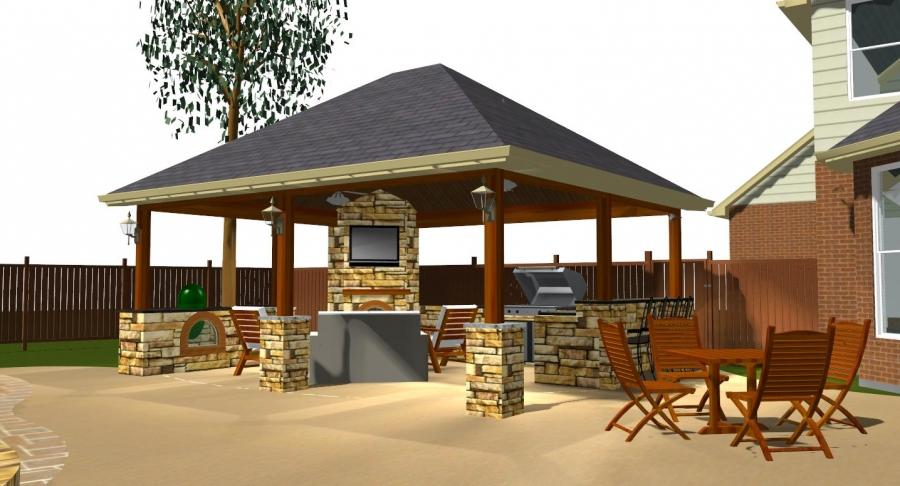 Outdoor kitchen fireplace photo for Detached covered patio plans