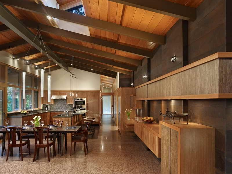 ... Exposed Beam Ceiling Lake Forest Park Residence