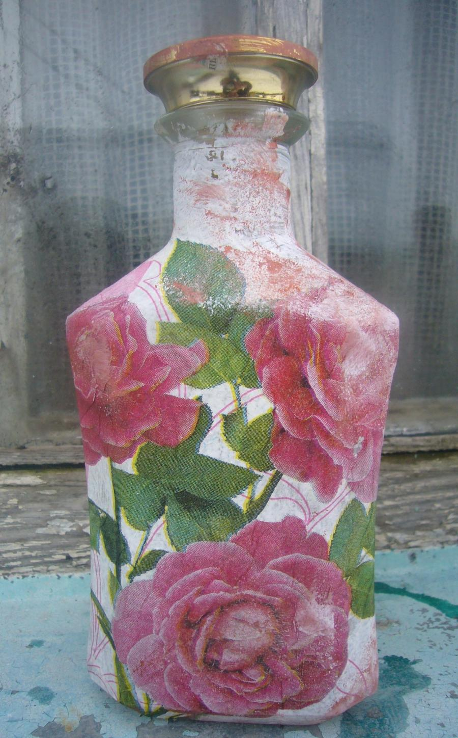 Decoupage Photos On Glass Vase