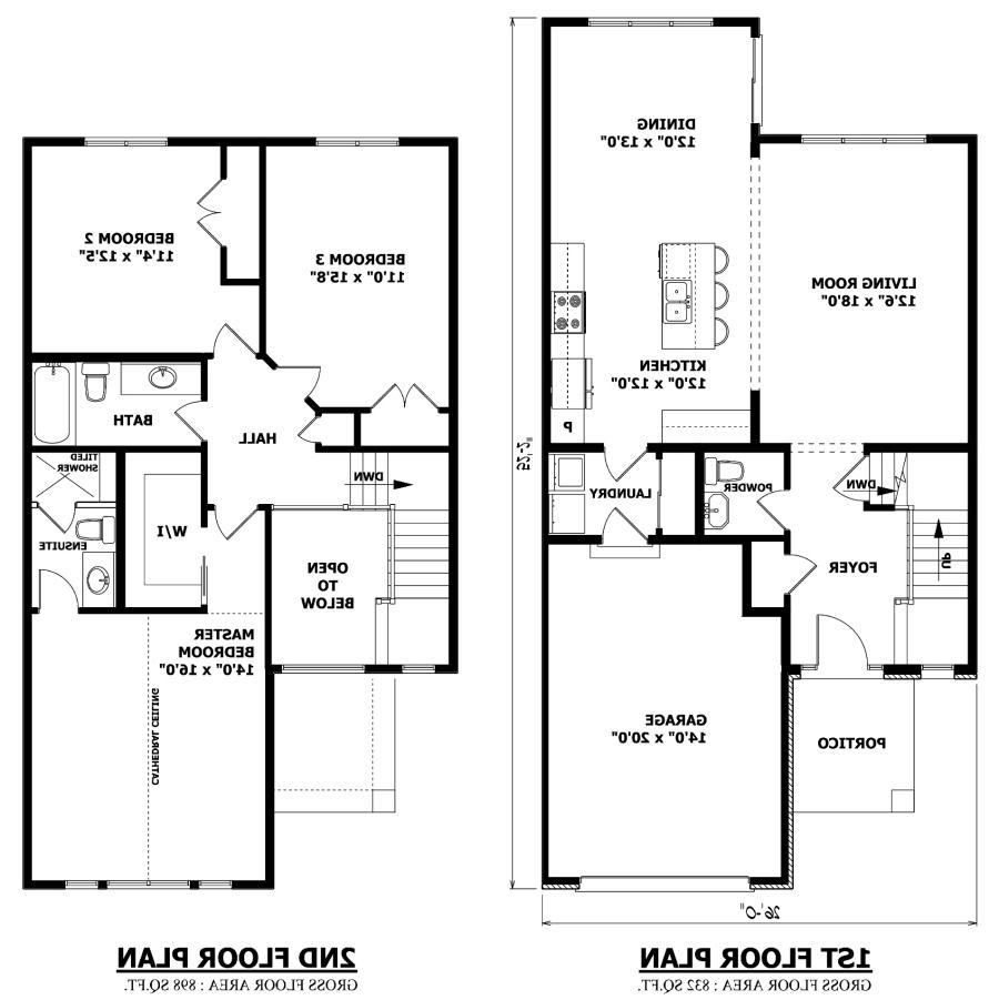 Two story house plans with photos for 2nd floor house design