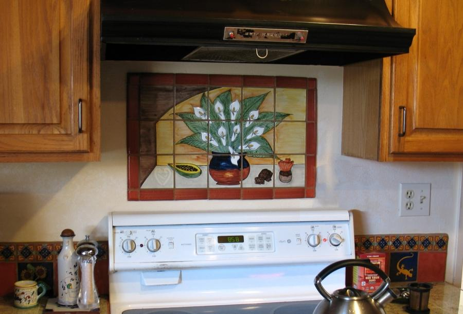 Tile mural kitchen backsplash