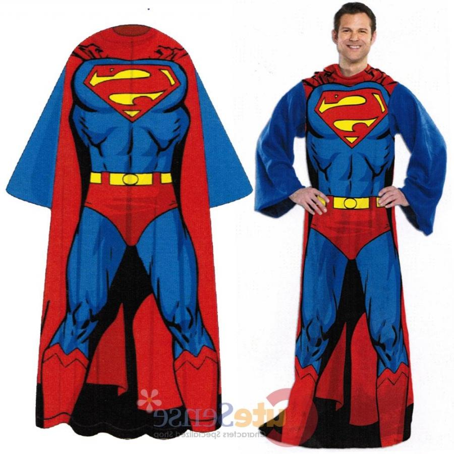 DC Comics Superman Cozy Fleece Blanket with Sleeves : Adult Size