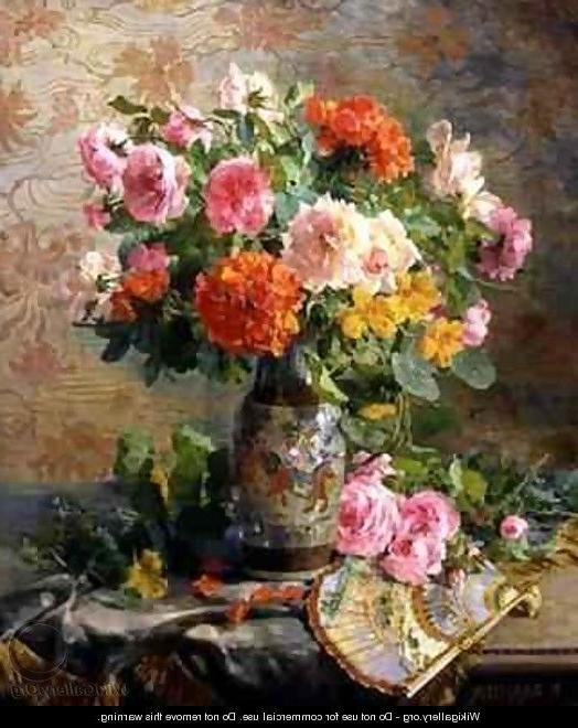 Vase of Flowers and a Fan - Pierre Garnier - WikiGallery.org, the...