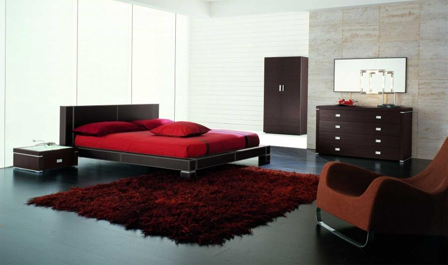 Modern Gloss Red Bedroom With Great Design