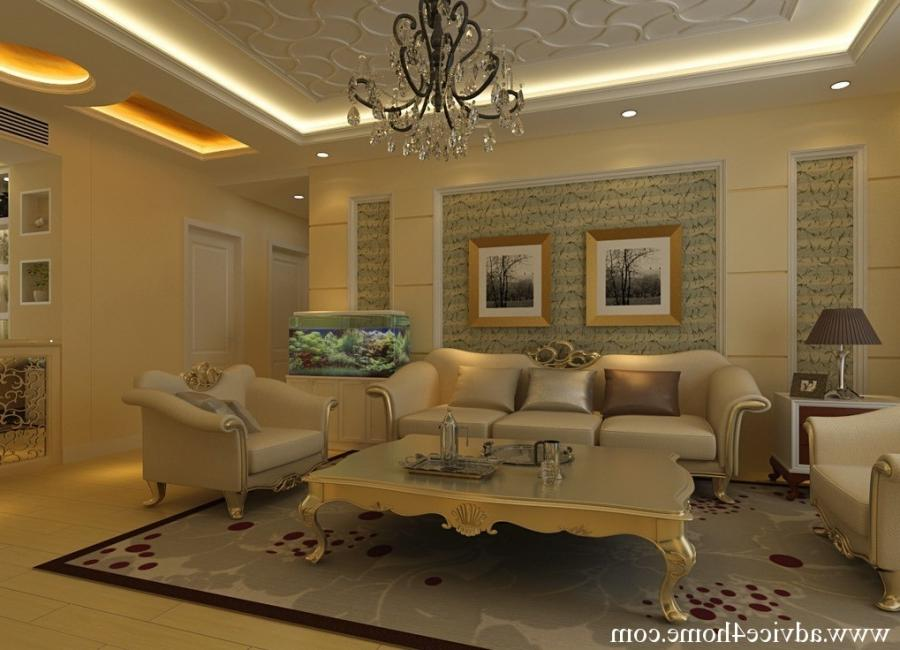 white pop ceiling design and traditional sofa set design in...