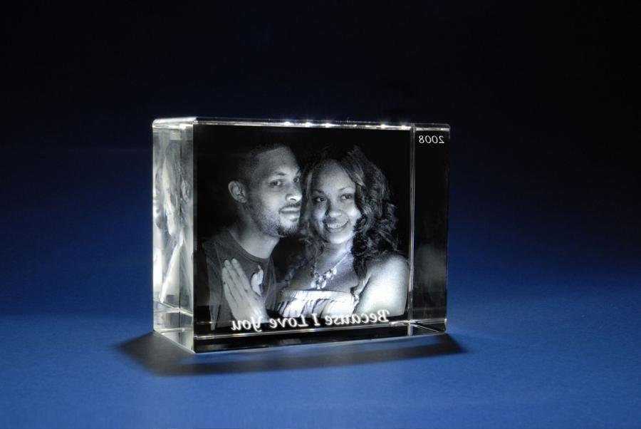 3d Photo Glass Cube With Lighted Base