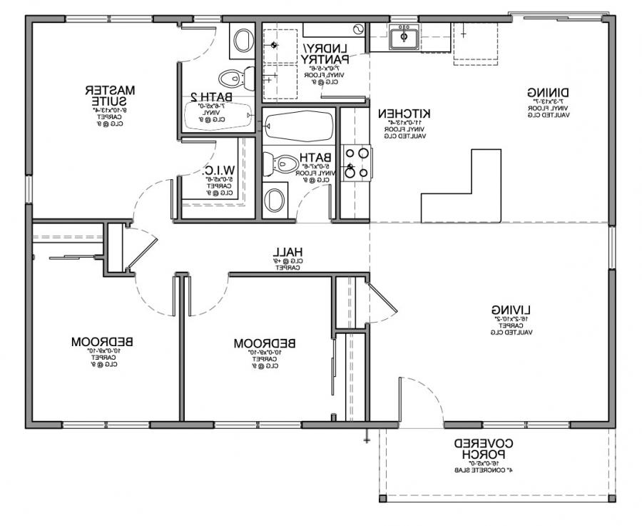 House plans photos 3 bedrooms for Floor design sf