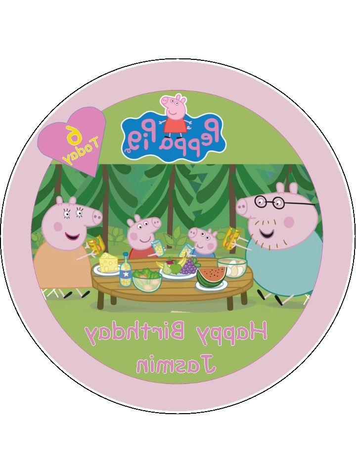 Peppa Pig 7.5u0026quot; Round Edible Icing Cake Topper