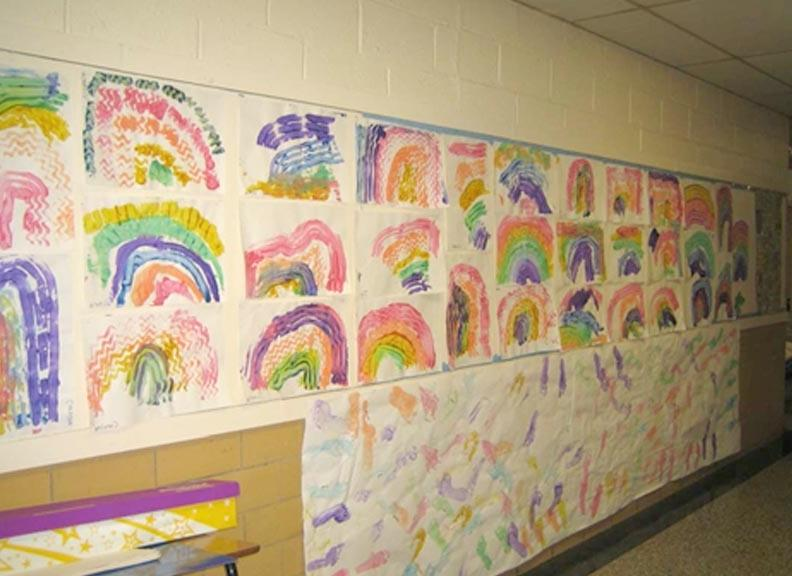 Preschool project time; Preschool hallway art display ...