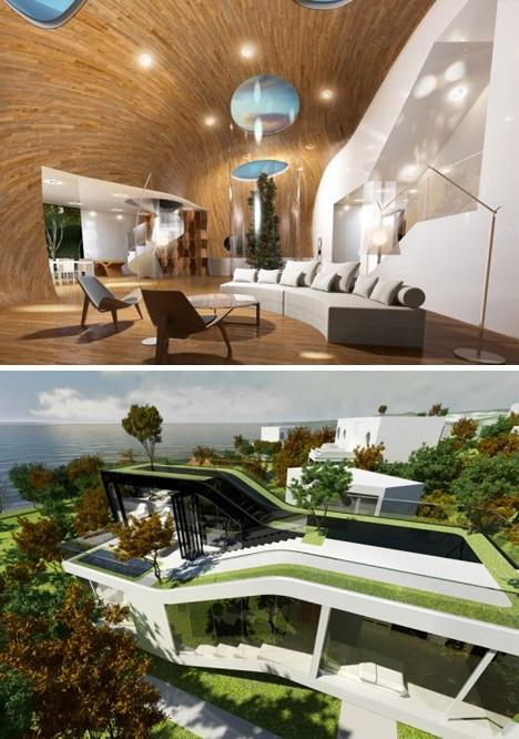 A green roof also varies in height, rising toward one end of the...
