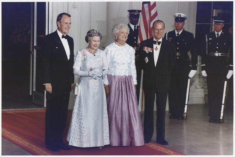 Queen Elizabeth visits President George H.W. Bush in the White...