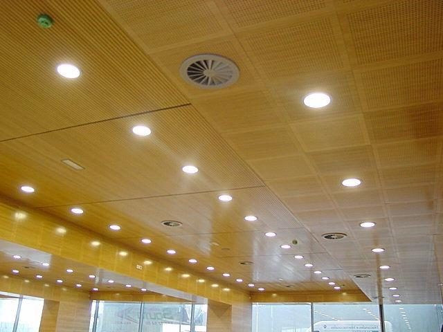 Acoustic suspended ceiling tile / in wood / perforated - ARIES...