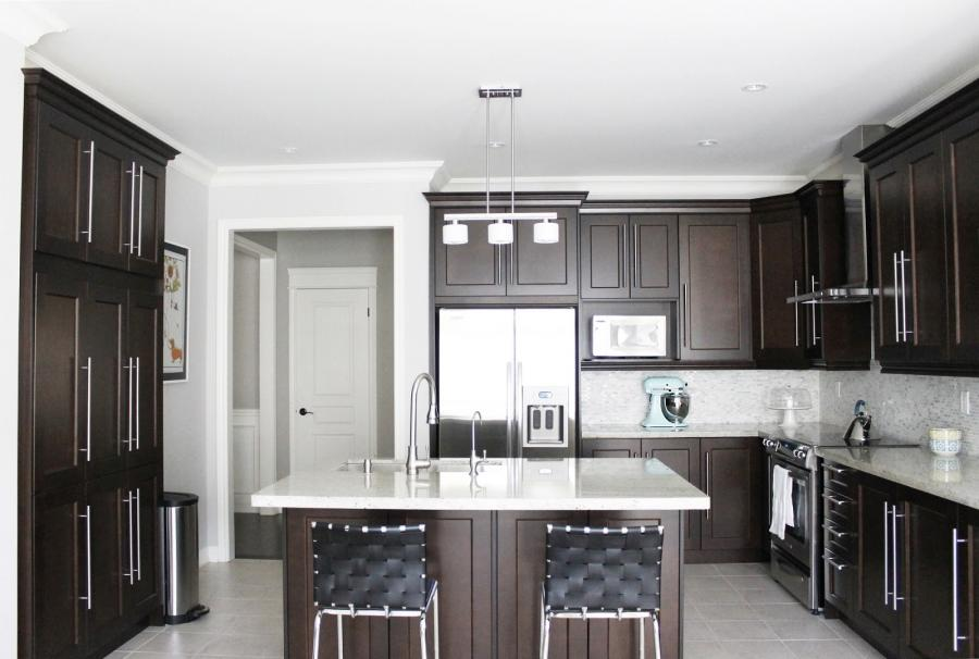 Kitchen, Maple Kitchen Cabinets And White Kitchen With Dark