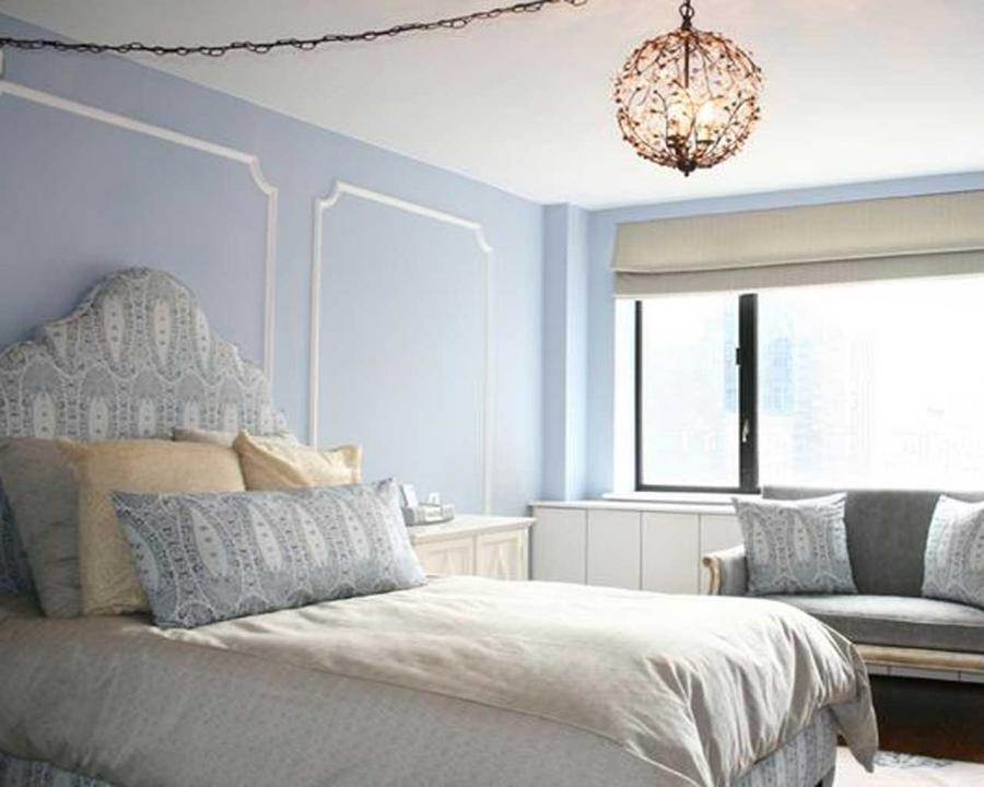 Unique Pendant Lamp Feats Blue Wall Paint Or Fabric Headboard On...