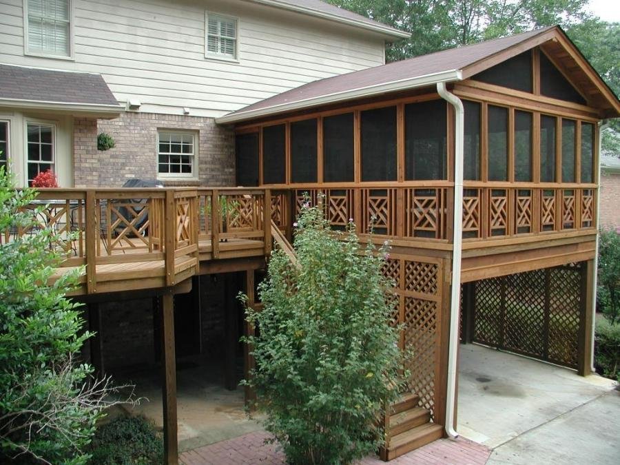 Exterior, : Astonishing Screened Front Porch Decoration With...