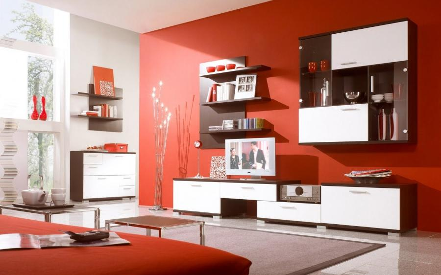 Фото гостиной дизайн в красном цвете