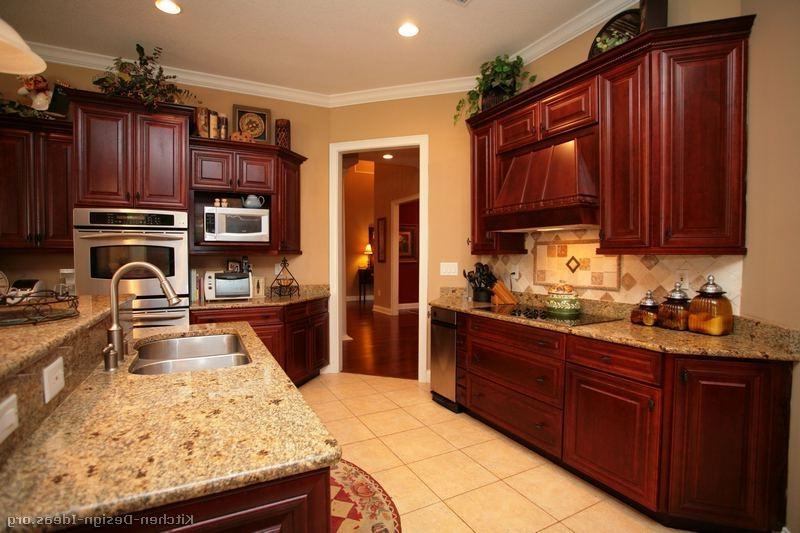 Photos of kitchens with cherry cabinets for Kitchen color ideas with cherry cabinets