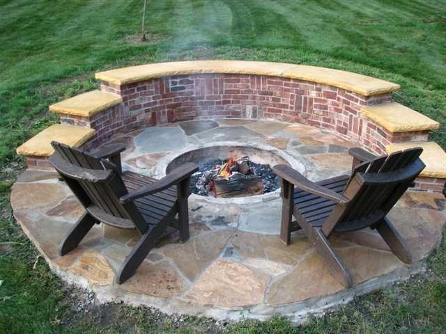 Brick firepit outside photo