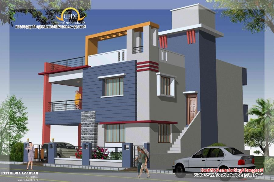 Duplex house plans elevation photos indian style for Duplex home plans indian style