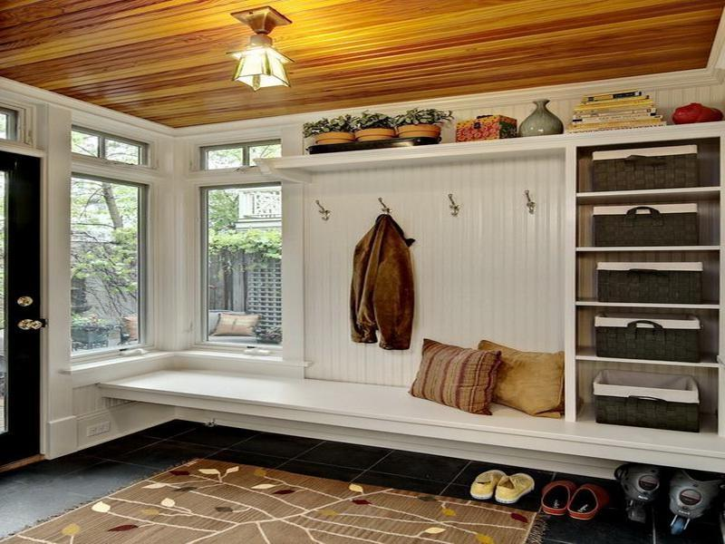 Traditional Mudroom Design Bench Black Marble Floor Wooden Roof...