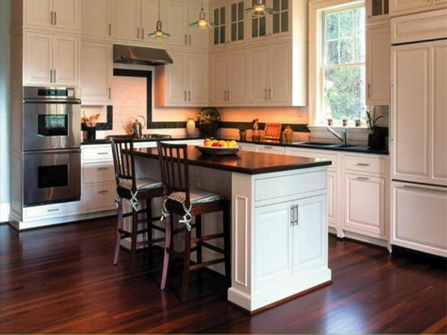 Small Contemporary Kitchen Hardwood Flooring, Small Island And...
