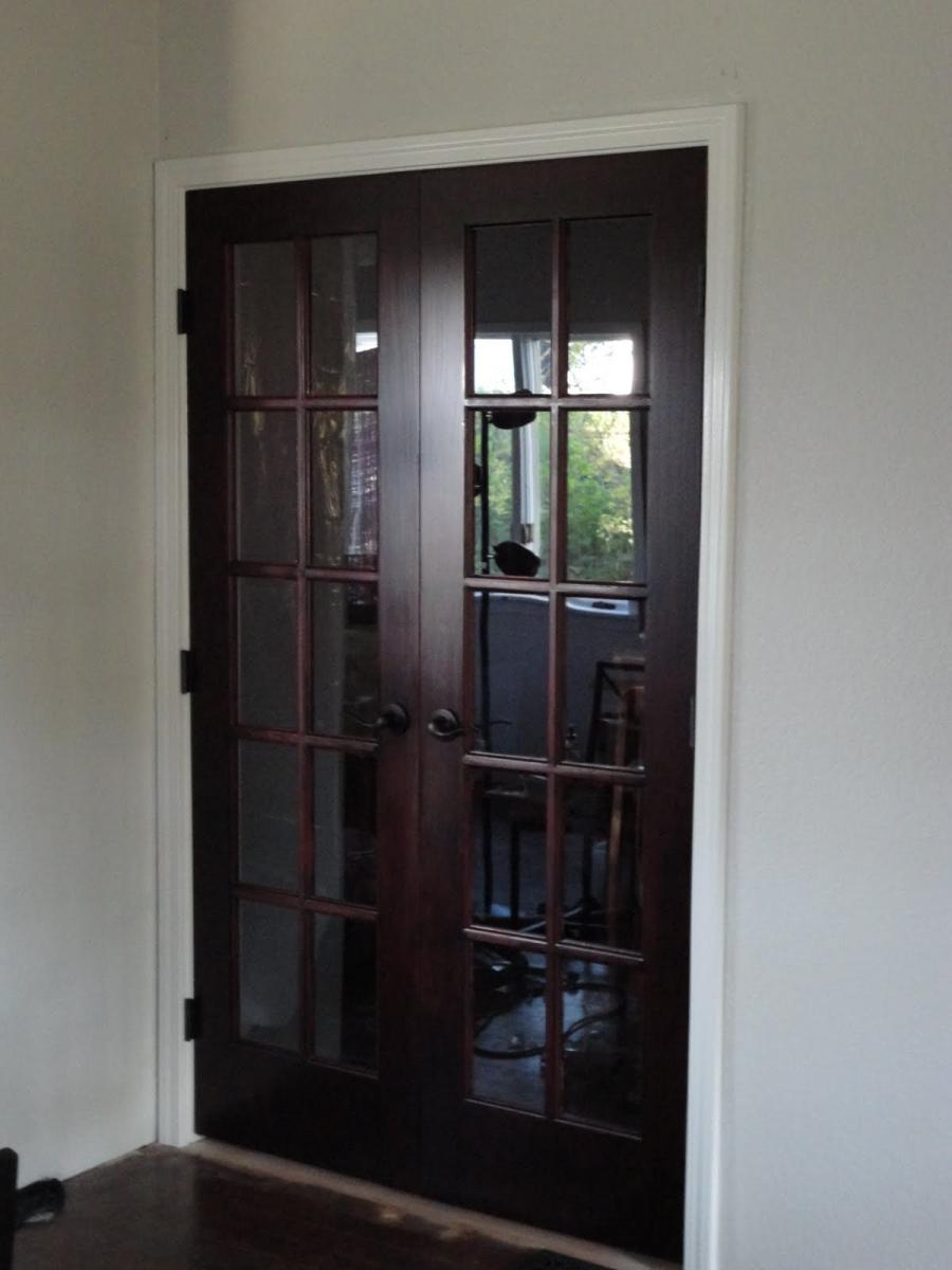 Stained door white trim photos for Craftsman french doors