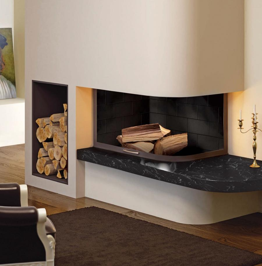 Decorating : Decoration Great Modern Corner Fireplace With White...