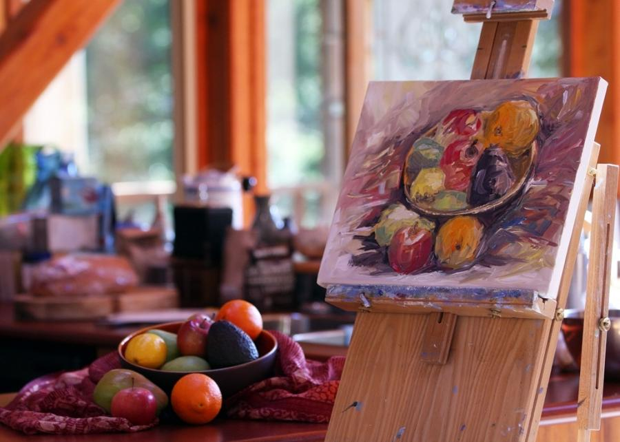 bowl of winter fruit still life painting in kitchen by Terrill...