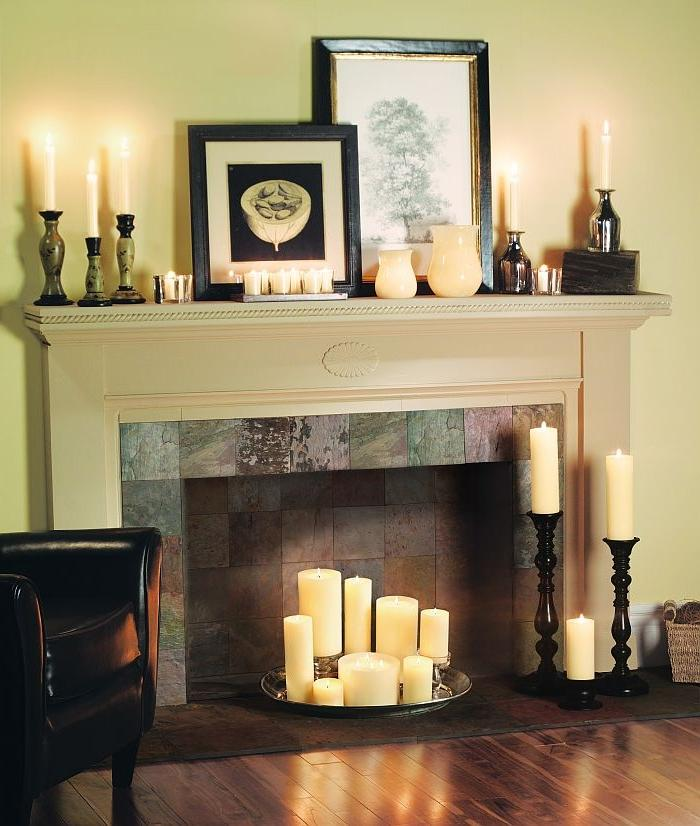 Fireplace Decorating Ideas Photos: Decorating Fireplace With Candles Photos