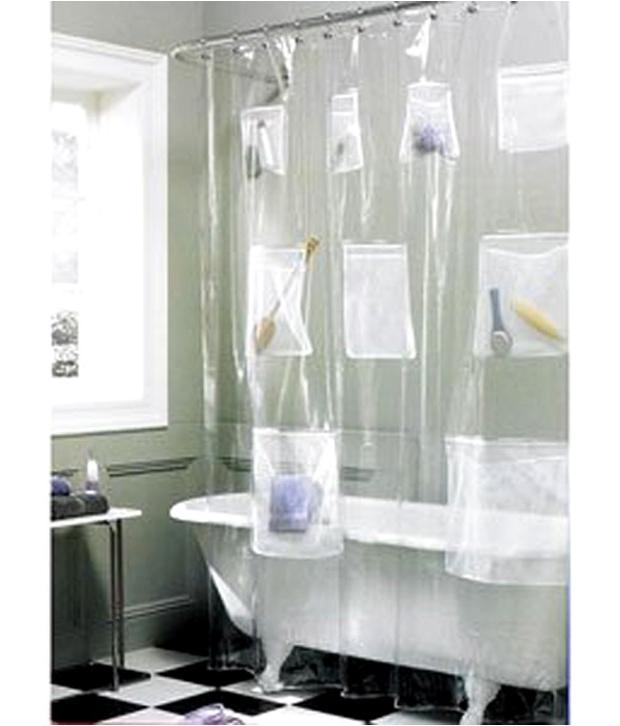 Waterproof Clear Shower Curtain With Mesh Pockets Multi